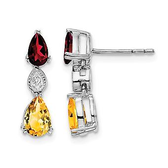 2.00 Carat (ctw) Garnet and Citrine Drop Earrings in 14K White Gold