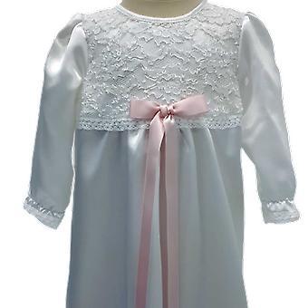 スリムな淡いピンクのドプロセットのホワイト洗礼ドレス Ma.v.la