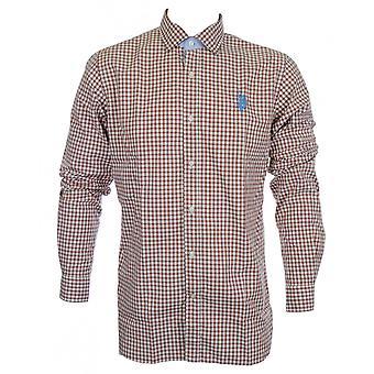 米国ポロ協会マシュー スリム フィット ブラウン格子縞のシャツ