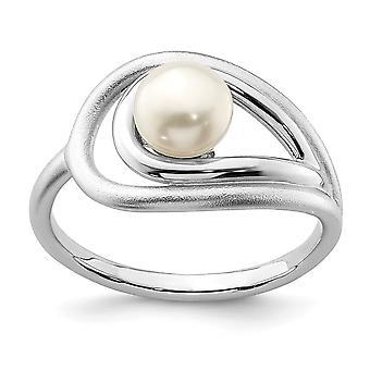 925 Sterling Silber Rhodium vergoldet poliert und gebürstet (6 7mm) Süßwasser kultiviert Eperle Ring Schmuck Geschenke für Frauen -