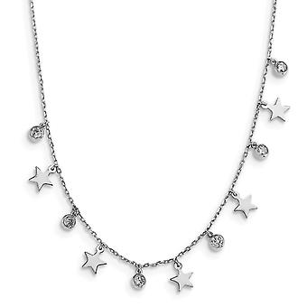 925 Sterling Silver Rhodium plated CZ Cubic Zirconia Simulated Diamond Star With 2inch Ext. Choker 12.5 Inch Jewelry Gif