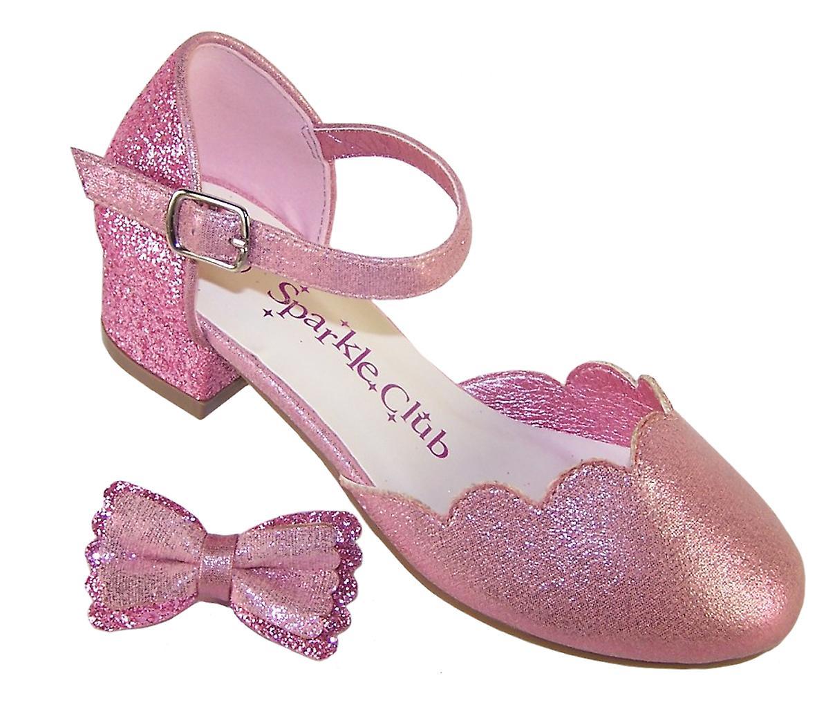 Dziewczyny Różowe Błyszczące Brokatowe Buty Imprezowe Na Obcasie