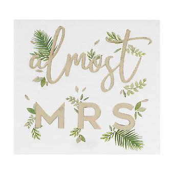 Gold Foiled Almost Mrs Botanical Hen Party Paper Napkins x 16