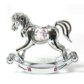 Rocking Horse - Girls Pink made with Swarovski Crystals by The Emporium Christening Gifts