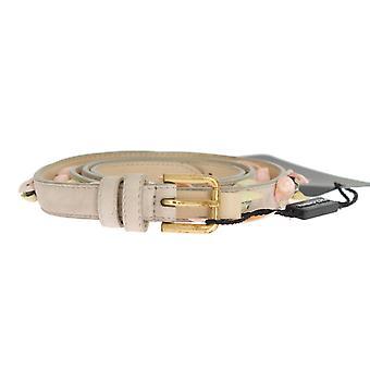Dolce & Gabbana Beige semsket skinn steiner krystaller belte