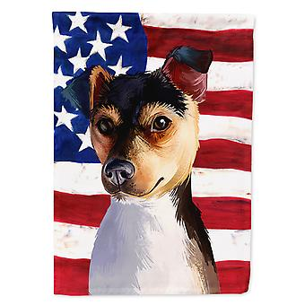 Brazilian Terrier Dog American Flag Flag Canvas House Size