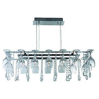 Vino 10 Light Decorative Ceiling - Chrome & Crystal Buttons/pear-drops & Wine Glass Trim