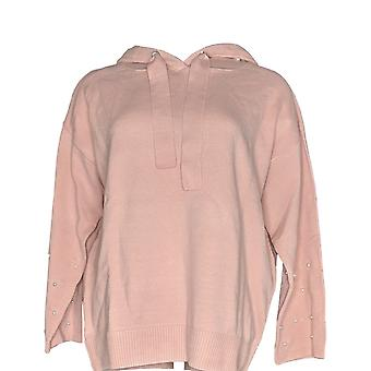 Attitudes by Renee Women's Sweater Pearl Embellished Hoodie Pink A347297