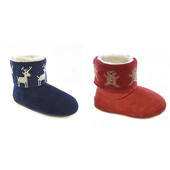 Womens/dames kerst Design Light Up Slipper laarzen