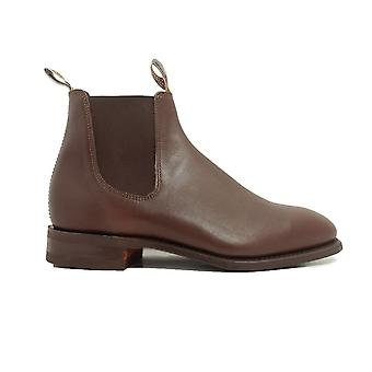 RM Williams Craftsman Rubber Sole Dark Tan Leather Mens Pull On Chelsea Boots