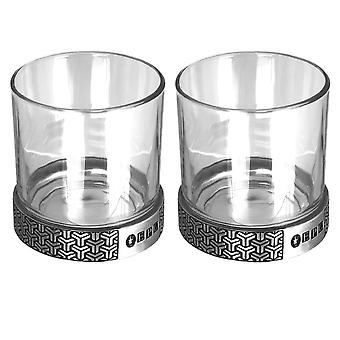 Symetrix Pewter whisky Glass dupla Tumbler set-11oz