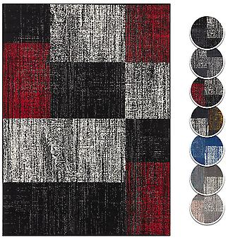 Carpet Boss Design Shortflor Rug Block Plaid Melted Plaid Plates Optic