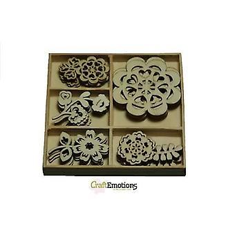 CraftEmotions Trä prydnad låda Folklore blommor 25 st - låda 10,5 x 10,5 cm