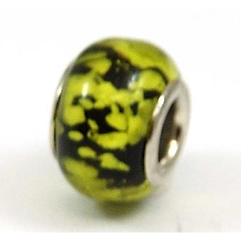 TOC BEADZ Lime sammakko kutee 9mm lasi dia-On pois helmi
