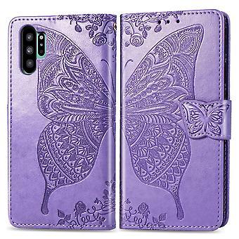 Für Samsung Galaxy Note 10 + Fall Licht lila Schmetterling Blumen PU Leder Bezug