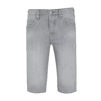True Religion Rocco Relaxed SKinny Fit Bermuda Destroyed Grey Denim Shorts