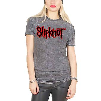 Slipknot T Shirt Classic Band Logo new Official Womens Charcoal Grey Burn Out