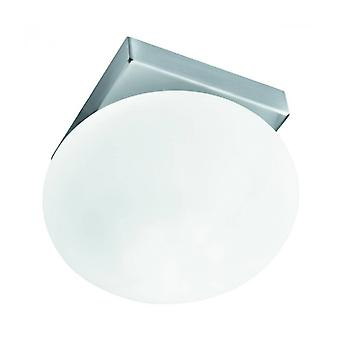 Surface Recessed Ceiling Light 8 Cm, In Satin Silver And Opal Glass