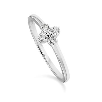 Diamond Flowers Ring in 9ct White Gold 162R0398019