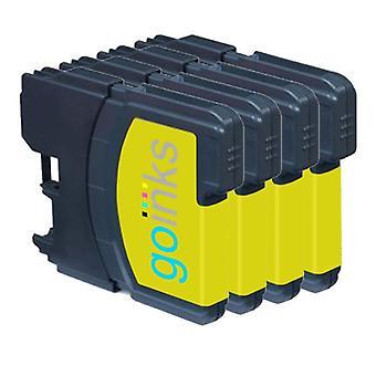4 cartușe de cerneală galbene pentru înlocuirea Brother LC985Y Compatibil/non-OEM cu cerneluri Go