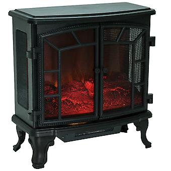 HOMCOM Freestanding Electric Fireplace Heater with LED Flame Effect Remote Control 1000W/2000W (Type A)