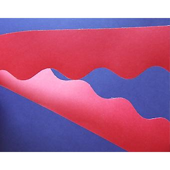 Flame Red 15m Scalloped Smooth Bordette Classroom Border Roll