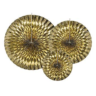 3 Gold Metallic Hanging Paper Fan Party Decorations