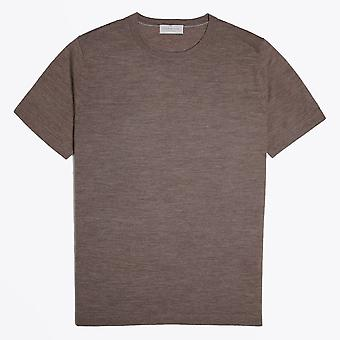 Thomas Maine  - Merino Crew Neck T-shirt - Khaki