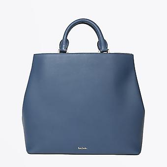 Paul Smith  - Leather Tote Bag With 'Swirl' Trims - Blue