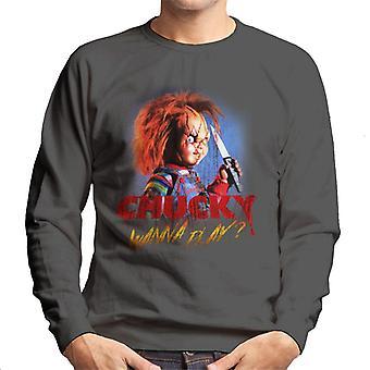 Chucky vill spela Crazed Face män ' s Sweatshirt