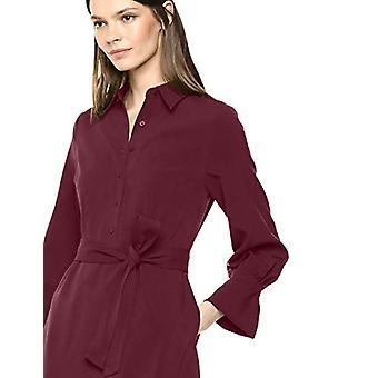Lark & Ro Women's Long Sleeve Tie Waist Stretch Woven Shirt Dress, Zinfandel 4