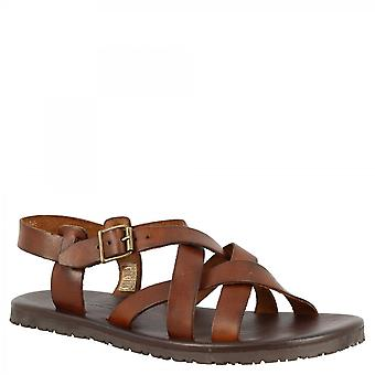 Leonardo Shoes Men's handmade sandals with crossed bands in brown calf leather with side buckle closure