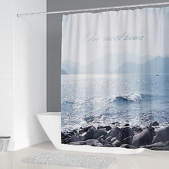 Sunny Beach Printed Fabric Shower Curtains - Waterproof Bathroom Decor