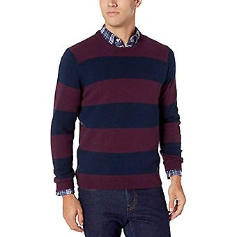 Essentials Men's Midweight Crewneck Tröja, Bourgogne / Marinen, Large