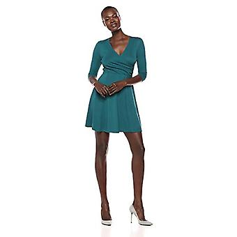 Lark & Ro Women's Three Quarter Sleeve Faux Wrap Fit and Flare Dress, Spruce Green, Small