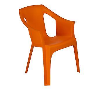 Resol Cool Plastic Garden Chair - Stackable UV Resistant Outdoor Patio Armchair - Orange