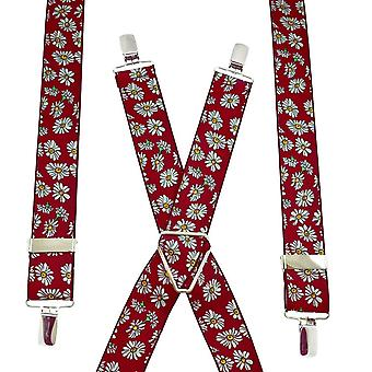 Ties Planet Red & White Daisy Flower Patterned Men's Trouser Braces