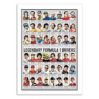 Art-Poster - Legendary Formula 1 Drivers - Olivier Bourdereau