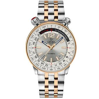 Gevril Men's 48563 Wallabout Automatic Silver Dial Two-Tone IP Steel Date Watch