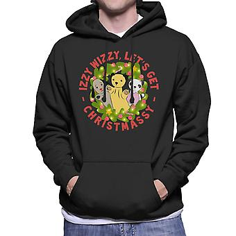 Sooty Christmas Illuminated Wreath Izzy Wizzy Lets Get Chrismassy Men's Hooded Sweatshirt