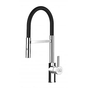 Kitchen Single-lever Sink Mixer With Black Movable Spout And 2 Jets Shower - Low Version 43 Cm - 550