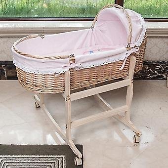 Baby Portable Wooden Cradle Bed With Roller Rocker 360 Degree Rotating Wheel