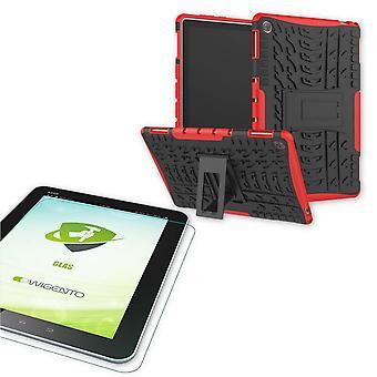 Para Huawei MediaPad M5 Lite 10.1 polegadas híbrido exterior protetora caso bolsa vermelha + 0,4 H9 vidro de proteção