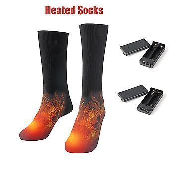 Chaussettes chauffées au coton thermique, chauffe-pieds d'hiver à piles homme-femme