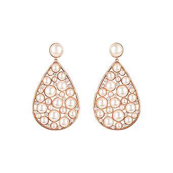 Pink White Elizabeth Pearl Gemstone Statement Rose Gold Teardrop Drop Boucles d'oreilles