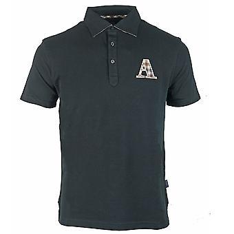 Aquascutum Brand A Logo Black Polo Shirt
