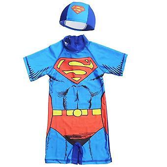子供の漫画プリント1ピースの水着、赤ちゃん用キャップ付き