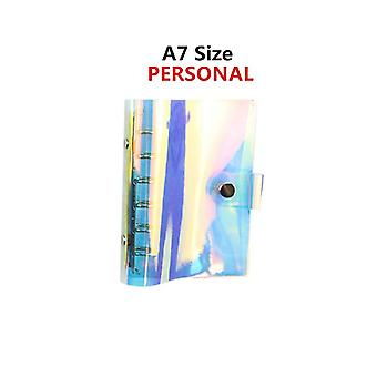 6-hole Clear Binder Cover, Rainbow Notebook, Round-ring Protector With Snap