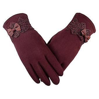 New Female Autumn, Winter Non-inverted Velvet, Warm Lace Gloves