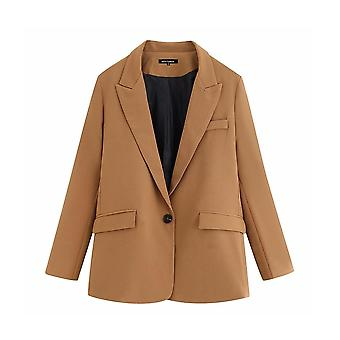 Élégant Pockets Office Lady Blazers Coat, Women Notched Collar Long Sleeve,